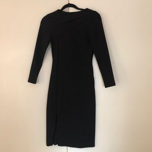 Black work dress with neck detail